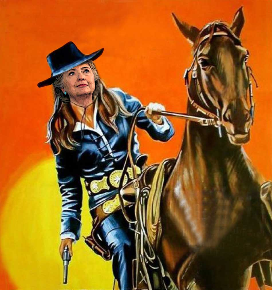 Hillary Clinton on horseback packing a six-gun
