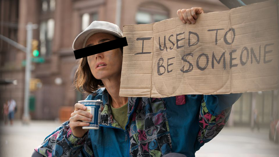 Woman holding sign that says I used to be someone.