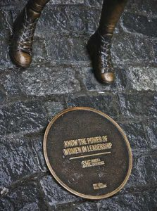 Inscription at the feet of Fearless Girl