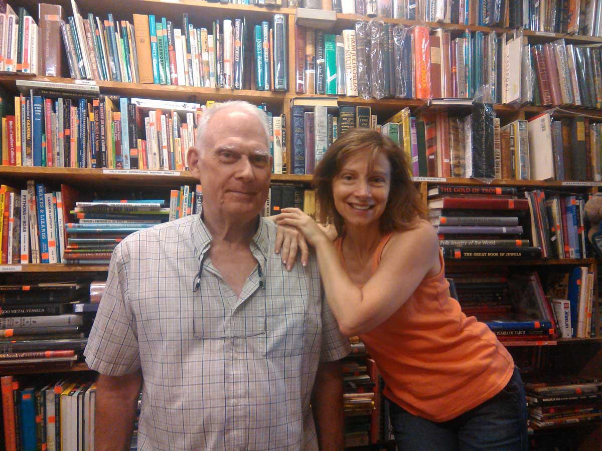 Paula Parisi poses with Bargain Books owner/